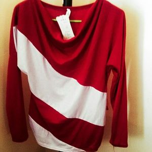 Maroon and white top by Allegra K sz medium