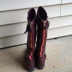Rue 21 Boots - Cherry Red Back Zipper Boots!