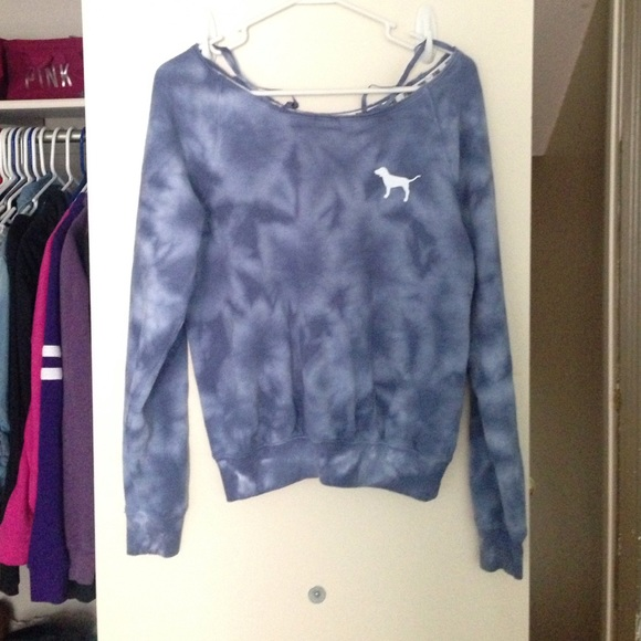 50% off Victoria's Secret Sweaters - VS PINK blue tie dye crew ...