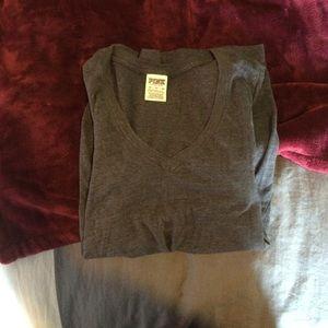 pink vs v neck grey t shirt