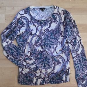 Talbots silk blend paisley cardigan Size Small