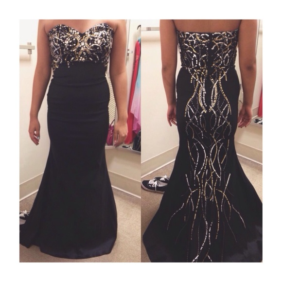 Jump Apparel Dresses | Mermaid Style Prom Dress Gold And Silver ...