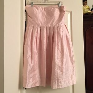 Strapless metallic pink party dress