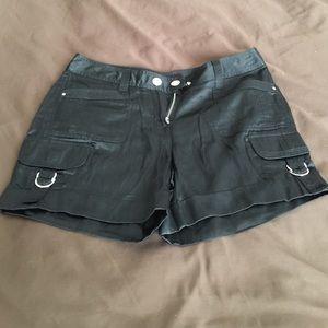 Short black silk shorts