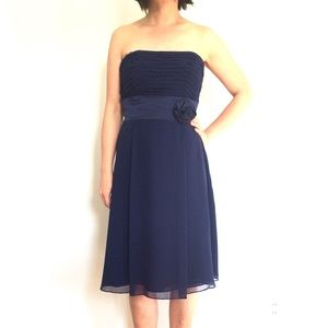 Kay Unger Ann Taylor Blue Strapless Chiffon Dress