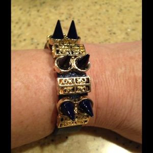 Isis Jewelry - 🎈Navy blue leather spike bracelet with gold