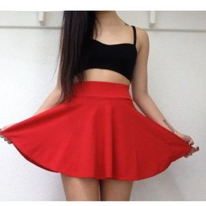 Red Circle Mini Skirt - NWOT