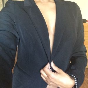 forever 21 black sleek blazer satin pinstripe