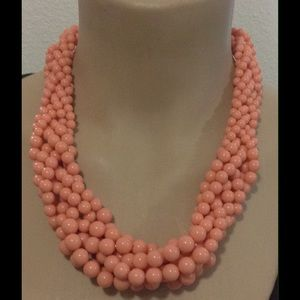 Peach braided beads statement necklace new