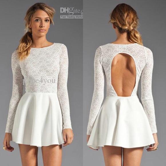1723676c7b Long sleeve white lace skater dress