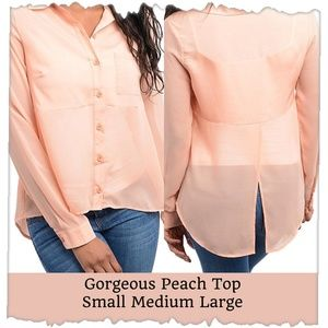 Peach button front top size Large new