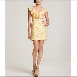 Cotton & Silk Ruffle Belted Dress