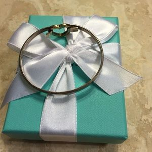 Tiffany sterling silver w 18K gold heart bracelet