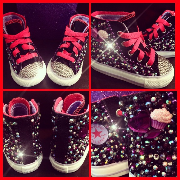 6df85a607fa6 Custom converse bling chucks size 5 (baby girls)