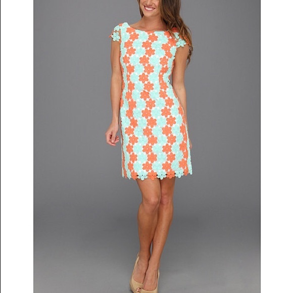 Lilly Pulitzer Turquoise/Coral 'Barbara' Dress