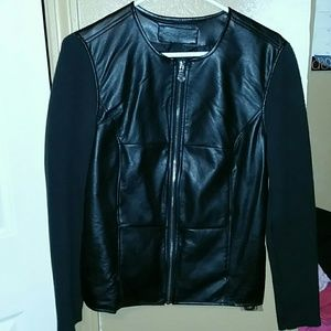 Jaclyn smith pleather and knit jacket