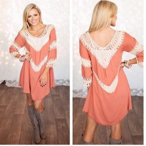 Small-Large Available. Crochet knit tunic