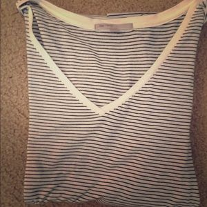 Gap white and black stripes top