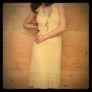 Vintage 70's Cream Crochet Halter Dress SZ S