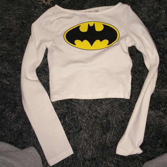 4ba8651d3e9 H&M Tops | Long Sleeve Hm Crop Top Batman | Poshmark