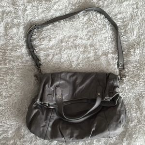 Gray Lucky Brand Crossbody Leather Bag