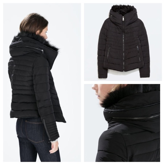 bd1306cc REDUCED Zara 2014Black Quilted Puffer Jacket w/Fur.  M_54e3806b6a5830429502df49