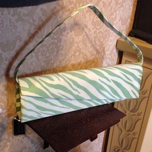 Lapis Mint Green and Cream Fabric Clutch Handbag