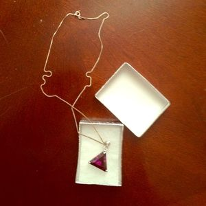 Jewelry - Purple triangle necklace with delicate chain.