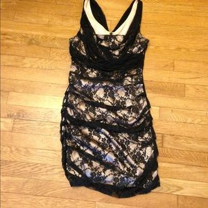 Black Lace & Cream Silk lined Express Dress