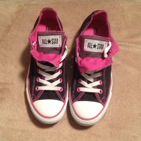 cb2bbbcc2f738f Converse Shoes - Black and pink double tongue converse all stars