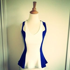 Blue & White Color Block Knit Peplum Top