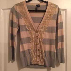 Anthropologie Rugby and Lace Cardigan