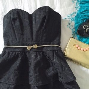 Laila Strapless Black Brocade Peplum Party Dress