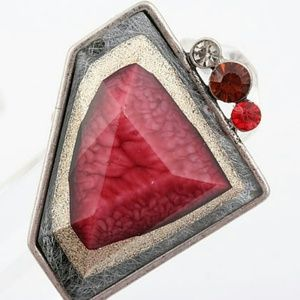 Red Stone & Red Rhinestone Geometric Ring