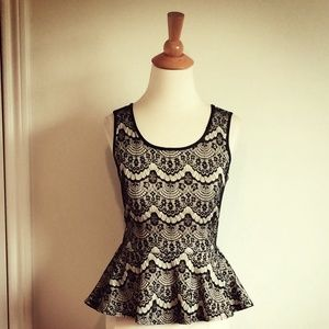 Black Lace Print Peplum Top