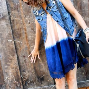 Dresses & Skirts - Peach & Blue Ombré Tie Dye Slip Dress