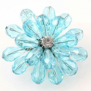 Robin Egg Blue Crystal Flower Ring