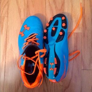 blue and orange under armour shoes