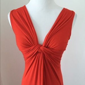 Red knotted maxi dress