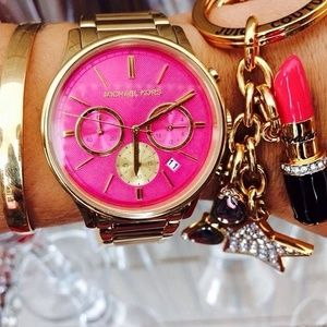 Pink face mk watch