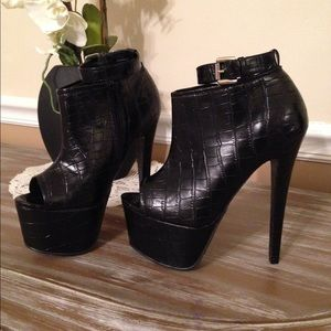 Black Alligator Peeptoe Booties With Ankle Strap