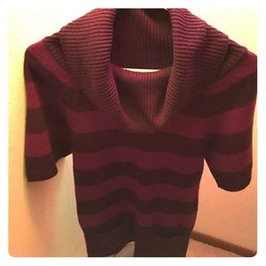 Purple striped sweater dress with pockets
