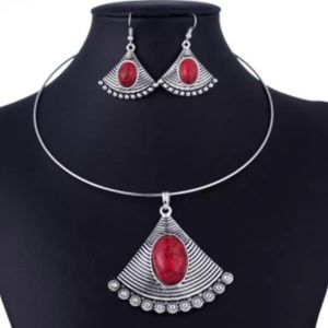 New Red and Silver Fan Choker & Earring Set