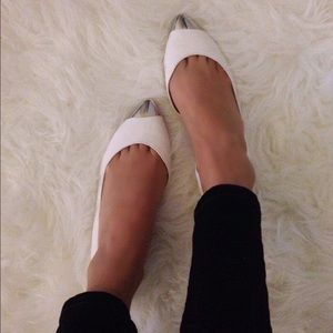 Shoe Cult white flats with Steal Toe