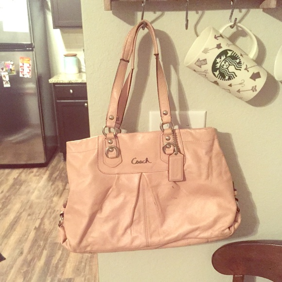 88% off Coach Handbags - Leather light pink coach purse from ...