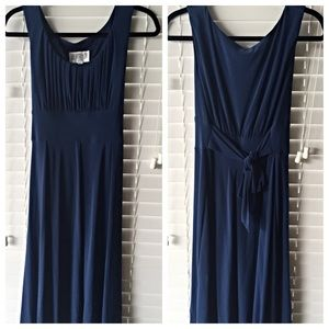 Dresses & Skirts - Blue dress with waist tie and rushed top