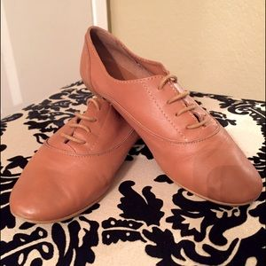 Topshop Office Brogues in Cognac Leather