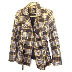 Grey and yellow peacoat jacket, Small, like new