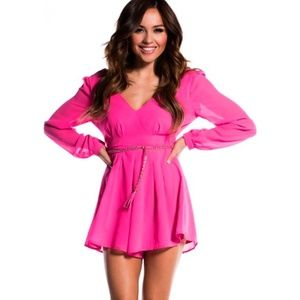 Hot Pink Flowy Romper With Braided Belt