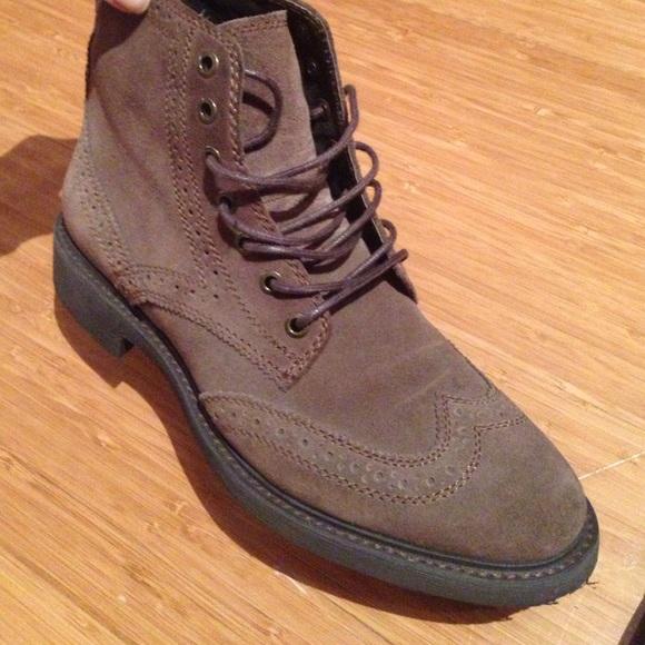 Mens Suede Wingtip Boots Suede Brown Wingtip Boots